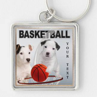 Jack Russell Puppy Basketball Key Chain Version #2