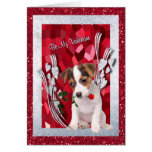 Jack Russell Puppy Be My Valentine Greeting Card