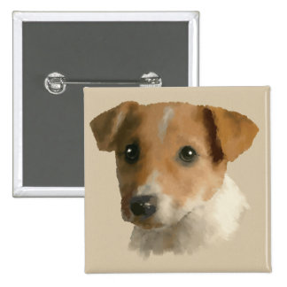 Jack Russell Puppy 2 Inch Square Button