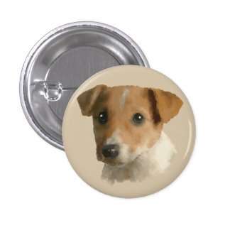 Jack Russell Puppy 1 Inch Round Button