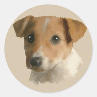 Jack Russell Puppy Classic Round Sticker