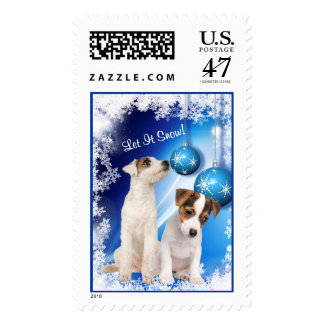 Jack Russell Puppy Let It Snow Postage Stamp