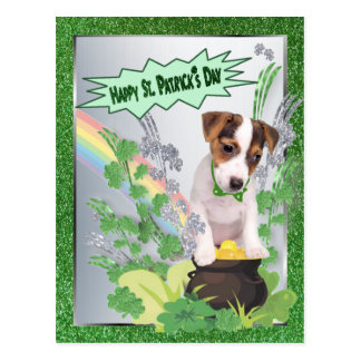 Jack Russell Puppy Number One Happy St Pattys Day Postcard