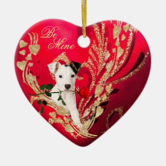 Jack Russell Puppy Red Heart and Rose Valentine Ceramic Ornament