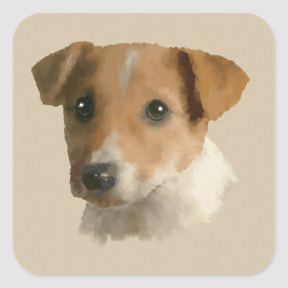 Jack Russell Puppy Square Sticker
