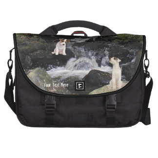 Jack Russell Pups Picturesque Waterfall Background Bag For Laptop