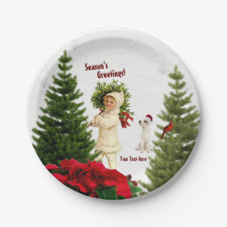 Jack Russell Red Poinsettia Holiday Paper Plate