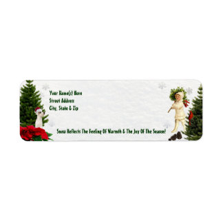 Jack Russell Red Poinsettia Return Address Labels
