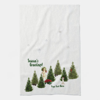Jack Russell Red Poinsettias Kitchen Towel