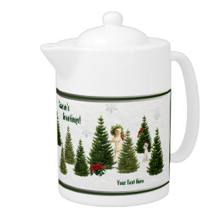Jack Russell Red Poinsettias Tea Pot Version Two