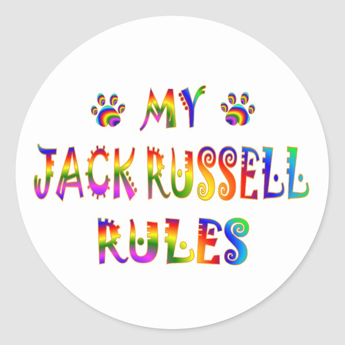 Jack Russell Rules Fun Classic Round Sticker