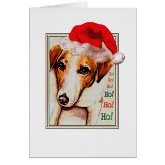 Jack Russell Santa Hat Christmas card