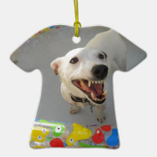 Jack Russell Terier Double-Sided T-Shirt Ceramic Christmas Ornament