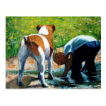 JACK RUSSELL TERRIER AND BOY: ART POST CARDS