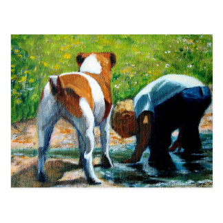 JACK RUSSELL TERRIER AND BOY: ART POSTCARD