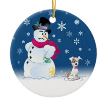 Jack Russell Terrier and Snowman Ceramic Ornament