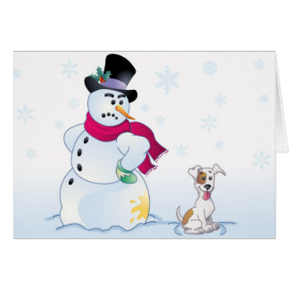 Jack Russell Terrier and Snowman Greeting Card