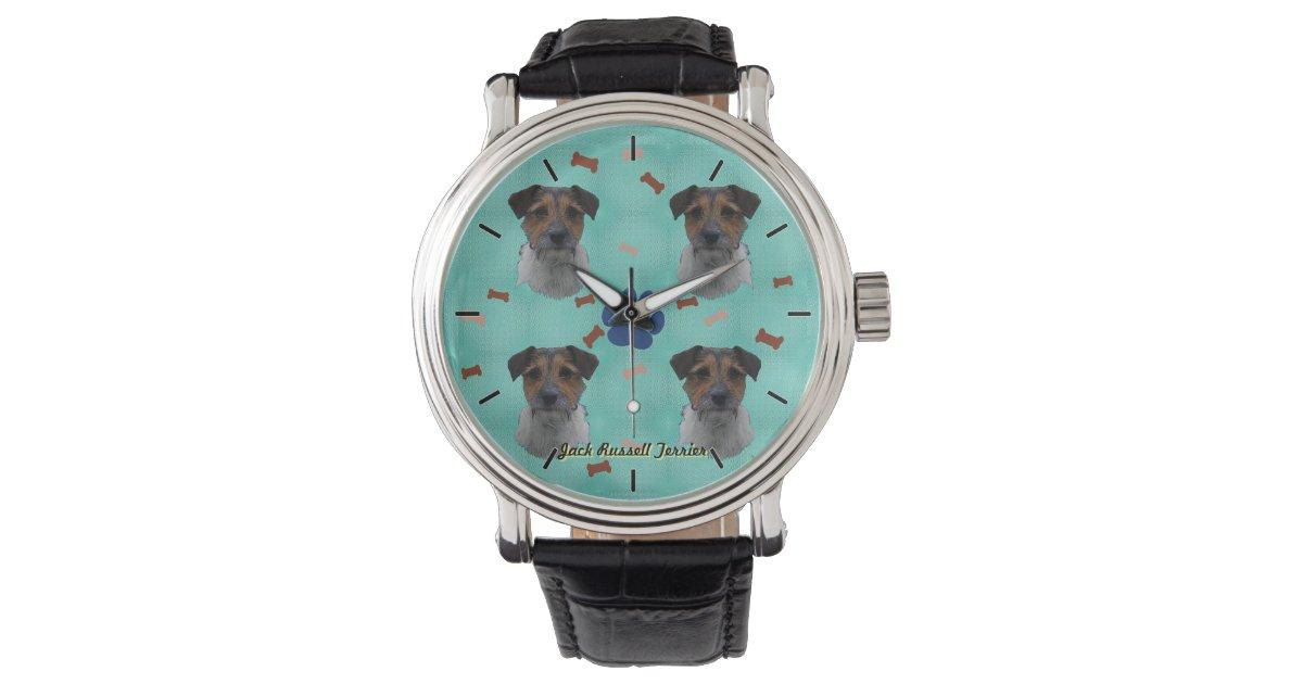 Jack russell terrier art wrist watches zazzle for Minimal art wrist watch