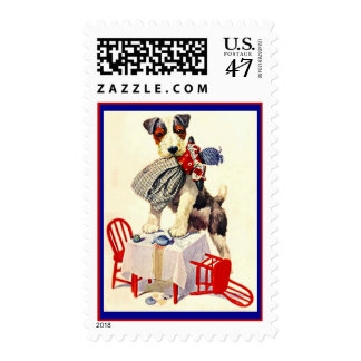 JACK RUSSELL TERRIER AT CHILD'S TEA TABLE W/ DOLL POSTAGE