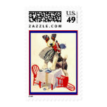 JACK RUSSELL TERRIER AT CHILD'S TEA TABLE W/ DOLL POSTAGE STAMPS