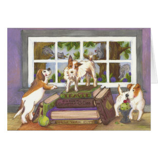 Jack Russell Terrier Beagle Squirrel Greeting Card