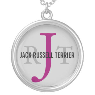 Jack Russell Terrier Breed Monogram Round Pendant Necklace