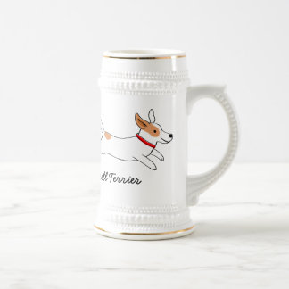 Jack Russell Terrier Cartoon Dog with Custom Text Beer Stein