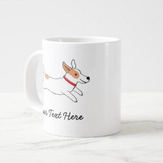 Jack Russell Terrier Cartoon Dog with Custom Text Giant Coffee Mug