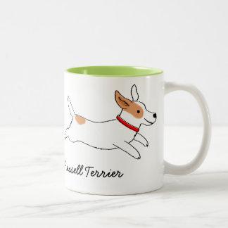 Jack Russell Terrier Cartoon Dog with Custom Text Two-Tone Coffee Mug
