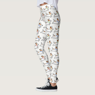 Jack Russell Terrier Cartoon Dogs Pattern Leggings