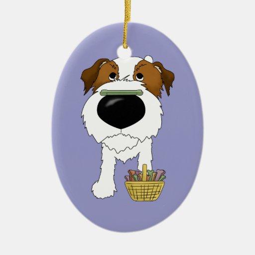 ¿Jack Russell Terrier - caza del hueso de Pascua, Adorno Ovalado De Cerámica