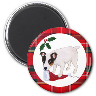 Jack Russell Terrier Christmas 2 Inch Round Magnet