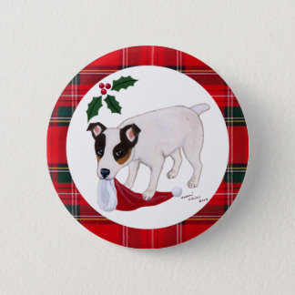 Jack Russell Terrier Christmas Button
