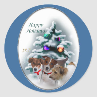 Jack Russell Terrier Christmas Gifts Round Stickers