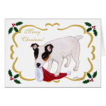 Jack Russell Terrier Christmas Holy Leaves Card
