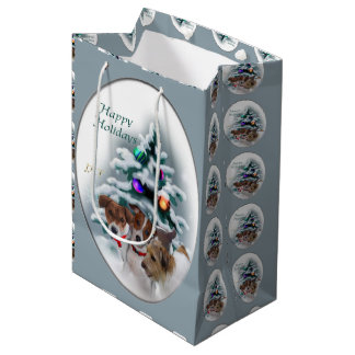 Jack Russell Terrier Christmas Medium Gift Bag