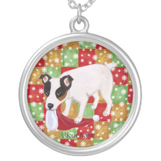 Jack Russell Terrier Christmas Round Pendant Necklace