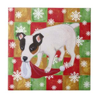 Jack Russell Terrier Christmas Snowflakes Tile