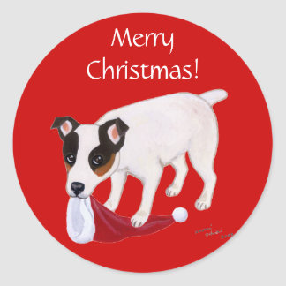 Jack Russell Terrier Christmas Round Stickers
