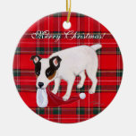 Jack Russell Terrier Christmas Tartan Double-Sided Ceramic Round Christmas Ornament