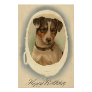 Jack Russell Terrier Collar Birthday Poster