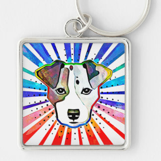 Jack Russell Terrier Colorful Pop Art Portrait Keychain