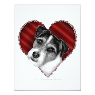 """Jack Russell Terrier con el corazón Invitación 4.25"""" X 5.5"""""""