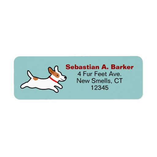 Jack Russell Terrier Cute Cartoon Image Return Address Labels