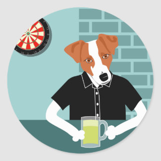 Jack Russell Terrier Dartboard Beer Bar Classic Round Sticker