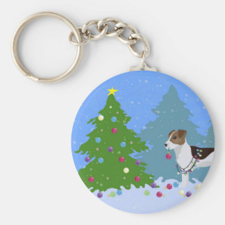 Jack Russell Terrier Decorating Christmas Tree Keychain