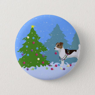 Jack Russell Terrier Decorating Christmas Tree Pinback Button