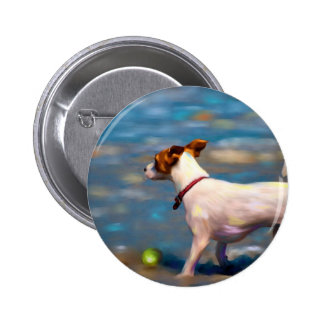 Jack Russell Terrier Dog Art - Jack at the Beach Pinback Buttons