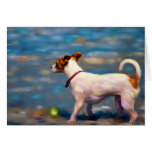 Jack Russell Terrier Dog Art - Jack at the Beach Greeting Card