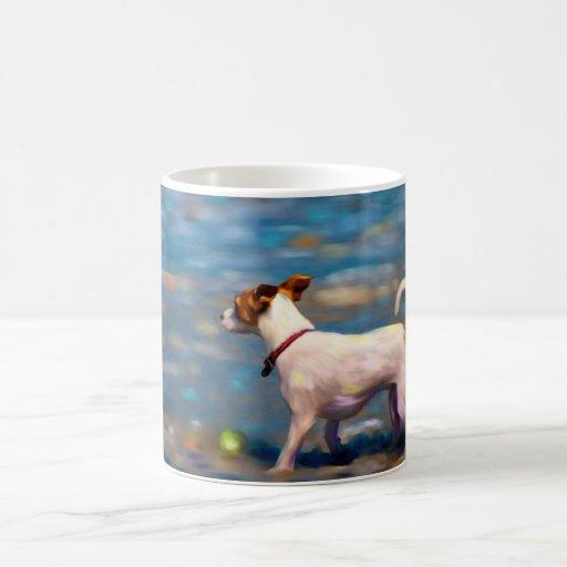 Jack Russell Terrier Dog Art - Jack at the Beach Coffee Mug
